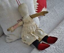 Antique Handmade Folk-Art Cloth Doll with Early Red Calico Dress