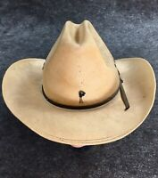 C@@l Vintage Western Stetson Long Oval Oklahoma Boomers Oil Riggers Hat w Pin TT