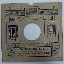 "78rpm 10"" card gramophone record sleeve / cover HOWARDS LTD , MANCHESTER"