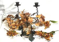 Autumn Candles Berries & Leaves Bundle with 3 Candle Holders Table Decoration