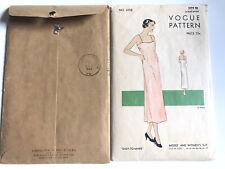 VINTAGE Original 1935 VOGUE UNPRINTED LONG SLIP CAMISOLE TOP PATTERN - SZ 18