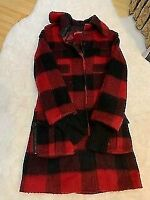 Alice + Olivia wool red and black buffalo plaid jacket coat Small S zip pockets