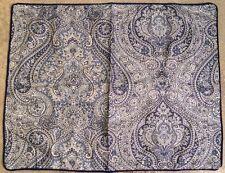 Ralph Lauren Standard Pillow Sham Blue White Paisley Cording Cotton Designer