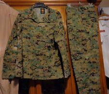 USMC MARPAT Uniform WOODLAND Combat Shirt & Pants in size MEDIUM SHORT  USED MS