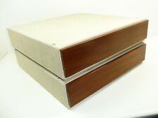 Mid Century 2x Vinyl LP Aufbewahrungs Kasten mit TEAK Holz Deckel stapelbar BOX