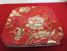 "222 Fifth Red Gabrielle Set of Two Salad Plates 8.5"" Square"