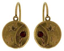 Ladies Antique Victorian Estate 18K Gold Floral Star Ruby Drop Dangle Earrings