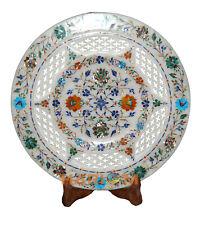 "12"" Marquetry Marble Dish Plate Inlay Multi Gemstone Art Kitchen Item Decor Gift"