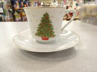 VINTAGE COFFEE Cups Saucers George Good Christmas Tree SET OF 3