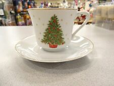 VINTAGE COFFEE Cups Saucers George Good Christmas Tree SET OF 3