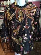 Citron Santa Monica Black Asian Embroidered Linen Silk Washable Jacket Sz Small