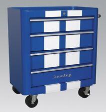 Sealey AP28204BWS Rollcab 4 Drawer Retro Style- Blue White Stripes Hand Tool