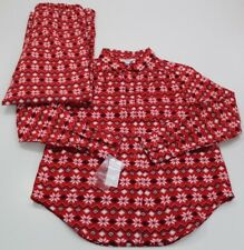 NWT Sleep Sense PORTUGUESE FLANNEL Snowflakes Pajamas Set XS POCKETS 359b2a907