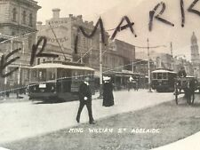Antique vintage old photo postcard King William Street Adelaide with trams
