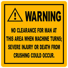 2X TEREX  REPLICA CRUSH WARNING  decal 300mm by 300mm gloss laminated.