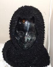 new black knotty knitted loop scarf  hood in one winter wear warm cozy