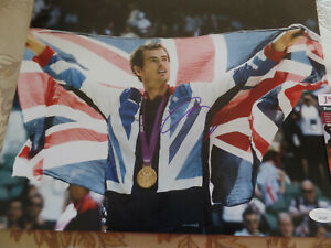 Tennis  Andy Murray Autographed 11X14  PHOTO Holding British Flag JSA Certified