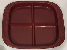 Longaberger Woven Traditions Paprika Burgundy Red 4-Part Relish Tray Platter