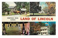 Vintage Illinois Chrome Postcard Greetings Land of Lincoln Springfield Cenotaph