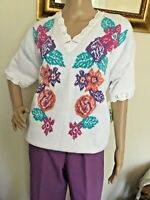 "80's Vintage White Floral Print Short Sleeve Sweater ""NWT"""