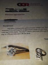 Ladies 14 karat white gold, 1.44 carat Moissanite Round solitaire ring