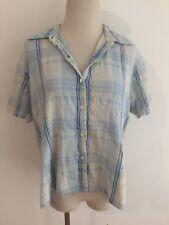 Bill Blass Jeanswear Gauzy Creped Button-Front Shirt Blouse Plaid Size M