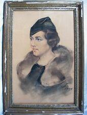 Charmant dessin en couleurs d'une élégante, signé et daté de 1934