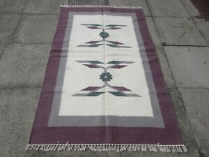 Vintage Traditional Hand Made Oriental Indian Cream white Wool Kilim 190x118cm