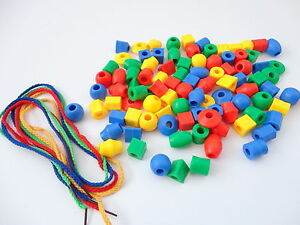 60 COUNTING & SORTING BEADS - 4 THREADING LACES - MATH EDUCATION EARLY LEARNING