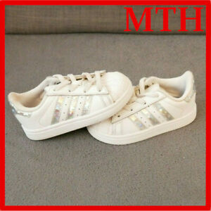 ADIDAS SUPERSTAR 6K Girls SIZE UK WHITE LEATHER SNEAKERS SPARKLE STRIPES