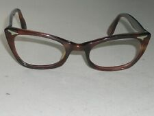 1960's LADIES 46[]22 VINTAGE SWAN USA THICK SLEEK TORTOISE CATS EYE FRAMES ONLY