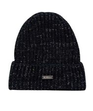 BEN SHERMAN Mens Black Reflective Ribbed Thick Knit Winter Beanie Hat One Size