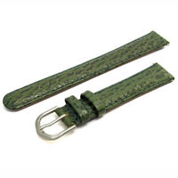 Green Leather Watch Strap Band Shark Grain Padded 16mm s D021