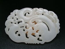 ANTIQUE  PLATE PHENIX JADE JADEITE WHITE HE TIAN  CHINESE  RARE
