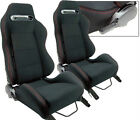 New 2 X Black Cloth Red Stitching Racing Seats Reclinable For Ford Mustang Cobra