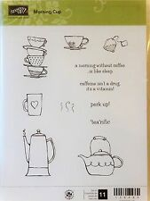 Stampin Up MORNING CUP clear mount stamp coffee tea cups kettle