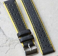 Black perforated 18mm rally watch band with yellow edges & stitching 19 sold