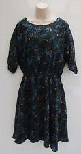 Vgc Toast Blue, Navy and Gold Pattern Silk Dress Sz 10