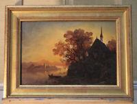 Kleines Ölgemälde Landschaft Romantiker vmtl. 19. Jh.