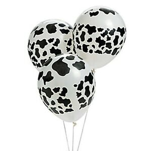 (12pk) FARM PARTY COW PRINT LATEX BALLOONS Western Design Cowboy Party Balloon