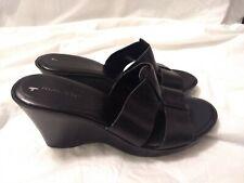 "Nine West Black Mule Wedge Heeled Sandals 3.5"" High Women's Size 8M Perk Me Up"