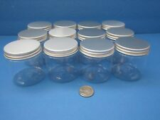 4 oz 12 Pk King PET Clear Plastic Jars w Silver Caps Lids Creams Crafts BPA Free