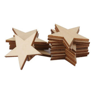 25 Pcs Natural Unfinished Blank Wood Wooden Stars Star Crafts-, I2P2 Decor M0S8