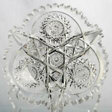 American Brilliant Cut Glass Bowl Signed Libbey Hobstars and Fans Antique 1900