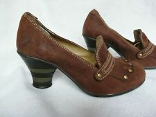 """FLY LONDON FLY GIRL studs brown suede leather court  shoes mid 3"""" heel size 3"""