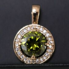 3 Ct Round Cut Green Peridot Halo Pendant Necklace Women Anniversary Gift