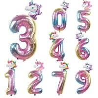 "32"" Rainbow Unicorn Number Foil Balloon Kids Age Birthday Unicorn Party Decor"