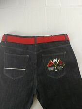 $50 Mecca Men's Designer Blue Denim Jeans W/Belt Size 46W 33L NWT
