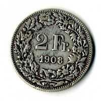 Moneda Suiza 1908 B 2 francos suizos plata .835 silver coin Helvetia