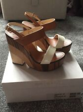 Jimmy Choo Tricolour Wedges Sandals - Notion 130 Size 39.5 White / Caramel Mix.